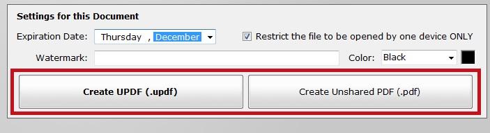 Create Unshared PDF or UPDF file